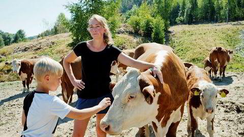 Gårdbruker Ann Kristin Teksle er på beite i Ulefoss sammen med sønnen Per Johan (7). Hun håper det blir mulig å komme gjennom tørken uten å slakte dyr eller få hjelp av banken.