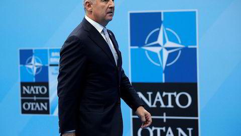Tross det angivelige kuppforsøket i 2016 ble Montenegro medlem av Nato i fjor. Milo Djukanovic, som i 2016 var statsminister, ble året etter valgt til president. Her er Djukanovic i NATO-hovedkvarteret i Brussel under alliansens toppmøte i midten av juli i år.