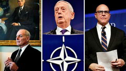 I München deltar Mattis (67) (midten) sammen med H.R. McMaster (55) (til høyre), den nasjonale sikkerhetsrådgiveren i Det hvite hus. I fjor deltok han sammen med den tredje generalen sentralt hos Trump, John Kelly, som nå er stabssjef.