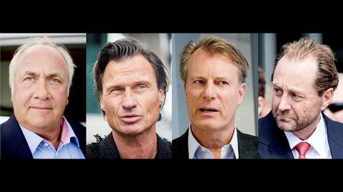 Cxense-aksjonærene har hatt en tøff reise på Oslo Børs. Torsdag kollapser aksjen fullstendig. Fra venstre Torstein Tvenge, Petter Stordalen, Johan H. Andresen og Kjell Inge Røkke.