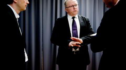 Statoil-sjef Eldar Sætre fikk varm mottagelse i aksjemarkedet etter å ha lagt frem skuffende tall her på Fornebu torsdag. Foto: Mikaela Berg