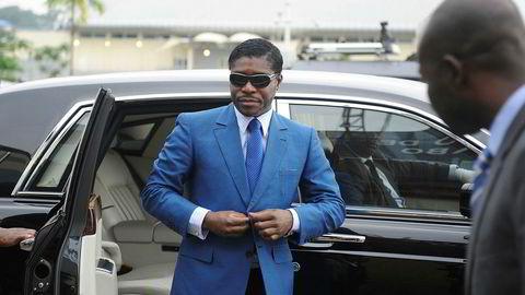 Presidentsønnen Teodorin Nguema Obiang i Ekvatorial-Guinea på vei inn til sin 41-årsfeiring i hovedstaden Malabo.