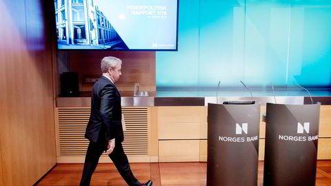 Sentralbanksjef Øystein Olsen, er fra forrige presentasjon av sentralbankens pengepolitisk rapport og rentebeslutningen.