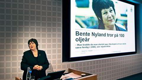Oljedirektør Bente Nyland presenterte «Sokkelåret 2014» torsdag. Foto: Hugo Bergsaker