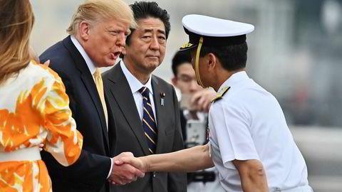 Donald Trump og Shinzo Abe skal etter planen møtes fredag. Her fra et møte i mai.