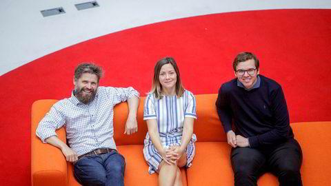 Confrere henter penger fra utlandet. Fra høyre, medgründer og teknologisjef Dag-Inge Aas, medgründer og produktsjef Ida Aalen og gründer og daglig leder Svein Willassen.