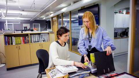 Leder Bodil Gilje (til høyre) i Bonnier Medias redaksjonsklubb har ledet forhandlingene om sluttvilkår på vegne av journalistene, sammen med styremedlem Julie Liljeroth i redaksjonsklubben.