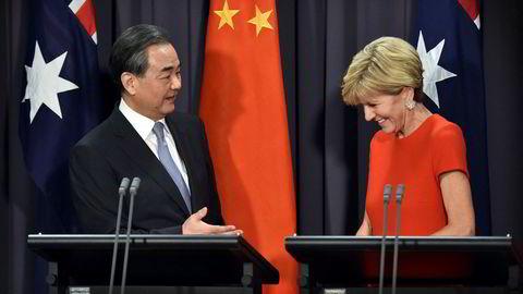 Australias utenriksminister Julie Bishop møtte den kinesiske utenriksministeren Wang Yi i Canberra i dag.