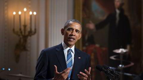 President Barack Obama, her under en markering for den amerikanske musikeren Ray Charles forrige uke. Obama møter massiv motstand fra det republikanske partiet når han nå ønsker å nominere ny høyesterettsdommer. Foto: AFP/MOLLY RILEY/NTB Scanpix