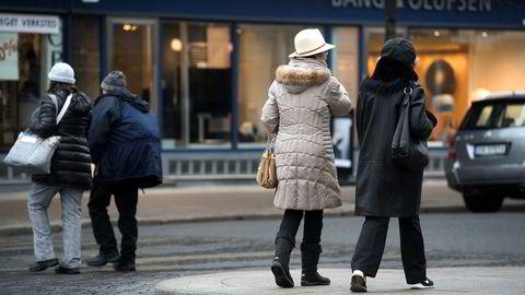 Oslo 2016-03-09 Gatebilde fra Oslo sentrum med eldre personer. Eldre Pensjonist Pensjon Pensjonister