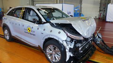 Euro NCAP har kollisjonstestet sin første hydrogenbil; Hyundai Nexo.