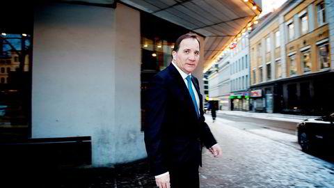 Statsminister Stefan Löfven og hans sosialdemokratiske mindretallsregjering gir opp å innføre kvinnekvotering i selskapsstyrene. Her erLöfven på besøk i Oslo tidligere denne uken.