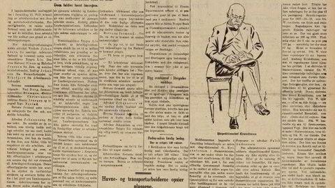 Straffesaken mot ekspedisjonssjef Otto Kristofersen ble behørig omtalt i Aftenposten. Faksimile fra Aftenposten 19. november 1923 som er gjengitt i boken. Her er det en tegning av Kristofersen