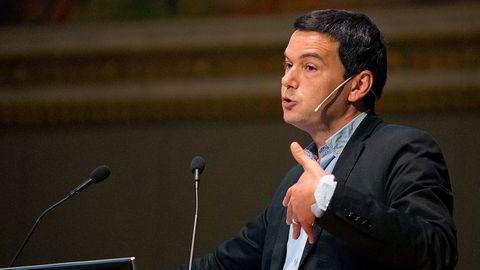 Den franske økonomen Thomas Piketty holdt foredrag om bestselgerboken «Kapital i det 21. århundre» i Oslo fredag. Foto: Jon Olav Nesvold / NTB scanpix