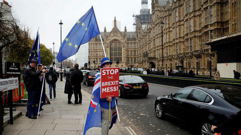 Brexit-motstander Steve Bray fra Wales protesterte utenfor parlamentet torsdag.