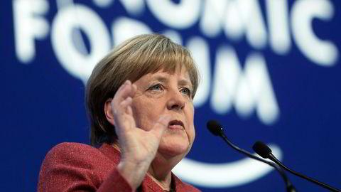 Tysklands regjeringssjef Angela Merkel talte under World Economic Forum onsdag.