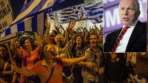 Da finanskrisen kom til Hellas, sprakk boligboblen som hadde vokst seg stor på feilprisede lån gjennom Hellas' inntreden i Eurosamarbeidet. Innfelt økonomen Edmund S. Phelps. Foto: Thomas Haugersveen og Joshua Roberts/Bloomberg