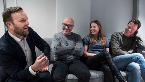 Nye samarbeidpartnere på kunstig intelligens. Fra venstre: Daglig leder i Try Råd, Sindre Beyer, daglig leder Fredrik Buchardt Werpen i Augment, Stine Ekstrøm, rådgiver i mediebyrået Try Opt, Kåre Øystein Trædal, daglig leder i techbyrået Try Apt.