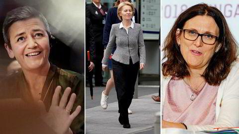 Europakommisjonens nye president Ursula von der Leyen (i midten), visepresident Margrethe Vestager (til venstre) og avtroppende handelskommissær Cecilia Malmström vil øke EUs makt.