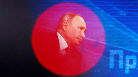 Russlands president Vladimir Putin under den årlige pressekonferansen i Moskva torsdag.