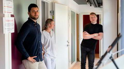 Gründer og lege Michael Kumar, klinikksjef Andrea Birketvedt og gründer og lege Harald Meling Dobloug i lege-oppstartsselskapet Legevisitt.