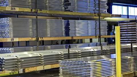 Ferdige aluminiumsprodukter fra Sapas produksjonsanlegg  Sapa Profiler Magnor AS i Norge. Foto: Aleksander Nordahl.
