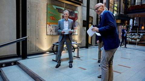 Rolv Erik Ryssdal, konsernsjef i Schibsted (til venstre) og Didrik Munch, konsernsjef Schibsted Norge ASA la frem tall for andre kvartal i tirsdag.