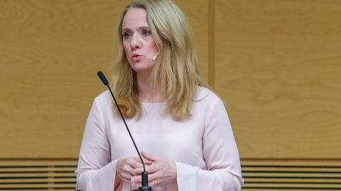 Arbeidsminister Anniken Hauglie var fornøyd med å kunne presentere en ny pensjonsordning i offentlig sektor lørdag.