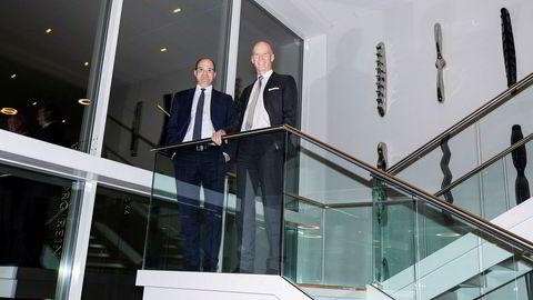 Styreleder Olav Kolstad (til venstre) i Advokatfirmaet Schjødt og hans kollega Thomas Nygren i svenske Hamilton har funnet tonen fordi kulturen i de to firmaene er lik. – De minner om oss, sier Nygren.