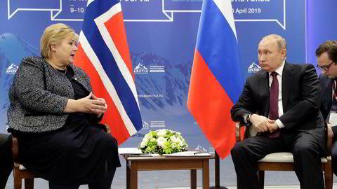 Statsminister Erna Solberg og Russlands president Vladimir Putin bilateralt møte i St. Petersburg.