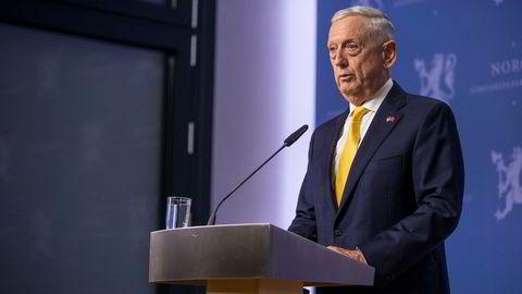 USAs forsvarsminister Jim Mattis under et besøk i Oslo tidligere i år.