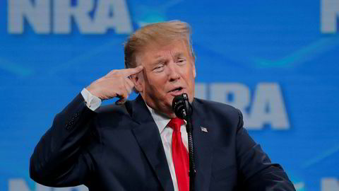 USAs president Donald Trump på årsmøtet i National Rifle Association (NRA) i Indianapolis fredag.