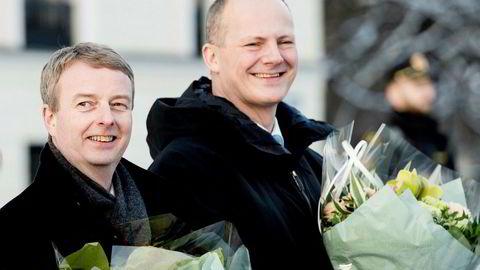 Fra venstre olje- og energiminister Terje Søviknes (Frp) og samferdselsminister Ketil Solvik-Olsen på Slottsplassen da regjeringen ble utvidet med Venstre.