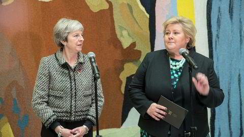 Statsminister Erna Solberg og statsminister Theresa May (Storbritannia) ankommer Stortinget.