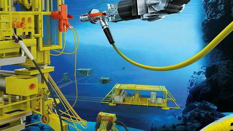 Illustrasjon av en rekke undervannsinstallasjoner og robote