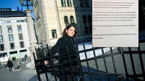 Saksordfører Siri A. Meling fikk ikke tilslutning til sin skisse for et skatteforlik. Foto: Elin Høyland