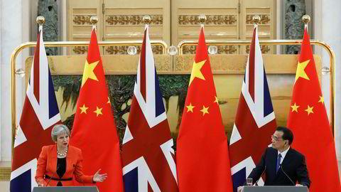 Storbritannias statsminister Theresa May holder pressekonferanse med Kinas statsminister Li Keqiang.