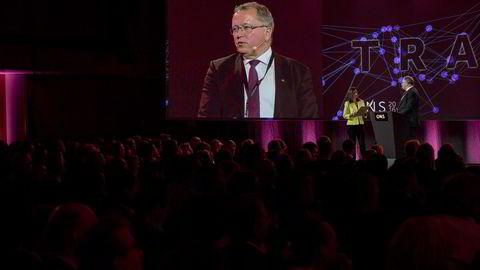 Statoil-sjef Eldar Sætre, her fra sin tale under åpningskonferansen på olje- og gasskonferansen ONS 2016 i slutten av august. Foto: Tommy Ellingsen