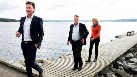 Ferd-sjef Morten Borge (fra venstre) får pengene til å vokse, men økningen har falt noe tilbake i år. Her med Ferd-eier Johan H. Andresen og leder Katinka Greve Leiner i Ferd Sosiale Entreprenører fra et intervju i fjor.