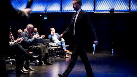 Olje og energiminister talte i Stavanger konserthus under SR-Banks fremlegging av konjunkturbarometeret.