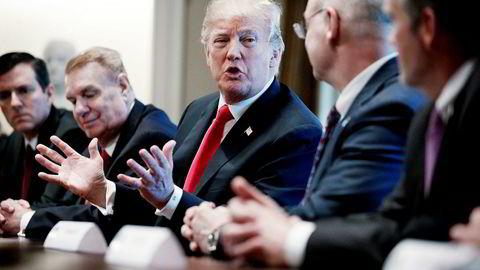 President Donald Trump under et møte med amerikanske stål- og aluminiumssjefer i Washington i forrige uke.