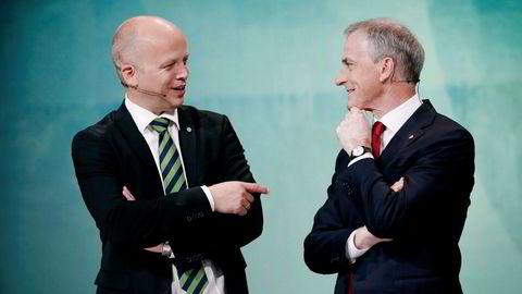 Senterpartiets Trygve Slagsvold Vedum (til venstre) opplever den høyeste oppslutningen partiet har hatt i dette årtusen. Skal Arbeiderpartiets Jonas Gahr Støre bli statsminister, må han samarbeide med Vedum.