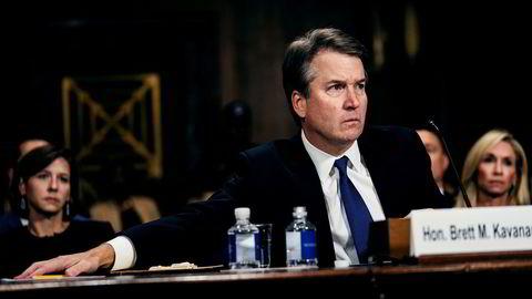 Brett M. Kavanaugh fikk 50 stemmer i Senatet, 48 stemte mot. Her er Kavanaugh under høringen i Senatets justiskomité 27. september.