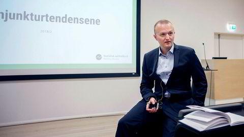 Forsker ved SSB, Thomas von Brasch, la frem byråets syn på fremtiden til norsk økonomi torsdag formiddag.