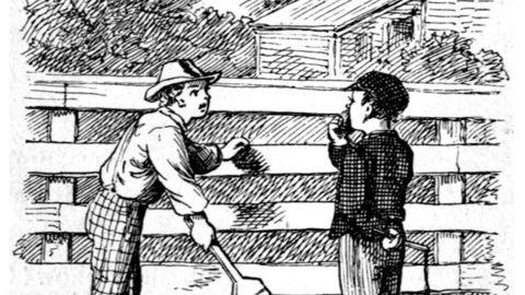 I Mark Twains bok overbeviser Tom Sawyer sin venn Ben om hvor meningsfullt det er å male tante Pollys gjerde. Illustrasjon: True Williams/Mark Twain/Wikimedia Commons