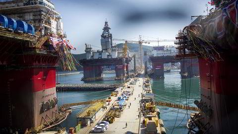 Her fra dåpen av Songa Offshores skreddersydde Statoil-rigger i Sør-Korea ifjor.  Foto: Mikaela Berg
