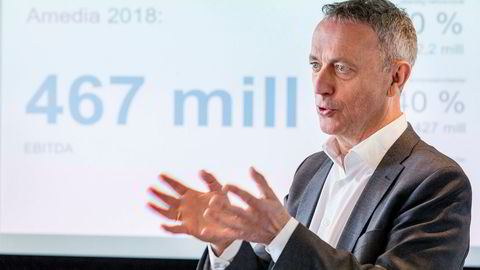 Are Stokstad, konsernsjef i Amedia, presenterte tirsdag konsernets resultat for 2018.