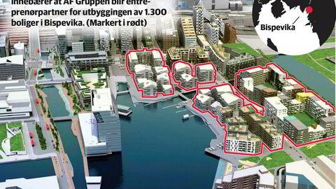 I områdene markert med rødt kan man vente seg 1.300 nye boliger når området er ferdig utbygget.