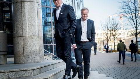 Konsernsjef Trond Williksen (til venstre) og finansdirektør Trond Tuvstein i Salmar har aldri levert et større overskudd for tredje kvartal. – Det gjør vi med et smil, sier Tuvstein.