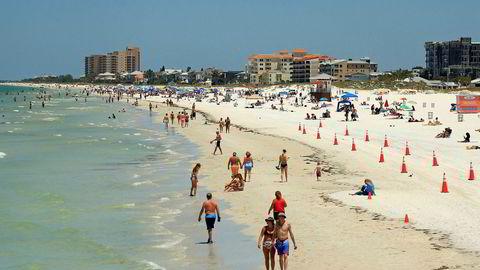 Bildet viser Clearwater Beach i Florida tidligere i år.